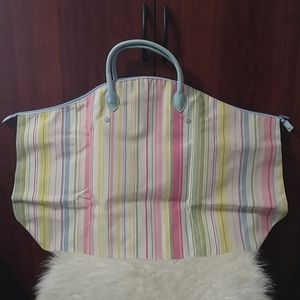 Two's Company pastel stripe x-large overnight tote